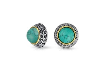 (Blue) - Bling Jewellery 3 Tone Reconstituted Turquoise Dome Clip On Earrings Gold Plated Alloy