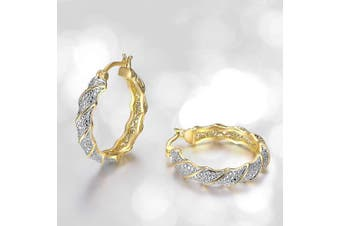 (yellow-gold-plated-bronze) - Plated Bronze Diamond Accent Twisted Hoop Earrings