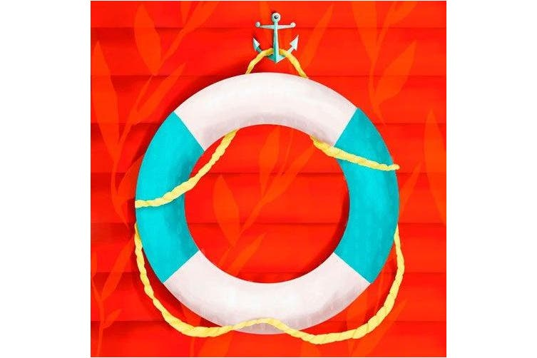 Oopsy daisy Ring Floatie Red Stretched Canvas Wall Art by Meghann O'Hara, 25.4cm by 25.4cm