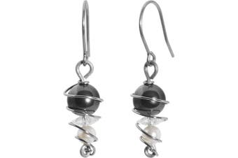 Swirl Solid Titanium Earrings Created with Crystals