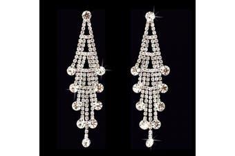 ACCESSORIESFOREVER Women Bridal Wedding Jewellery Crystal Rhinestone Layered Linear Dangle Earrings Silver