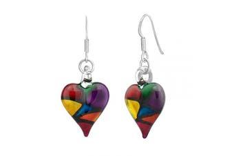 """925 Sterling Silver Hand Blown Venetian Murano Glass Multicolor Heart Dangle Hook Earrings (1.57"""" L)"""