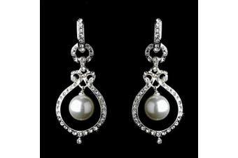 Bridal Wedding Jewellery Crystal Pearl Dangle Drop Earrings Silver White