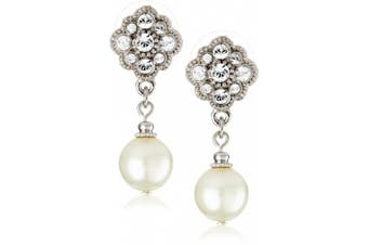 (silver) - 1928 Jewellery Simulated Pearl and Crystal Drop Earrings