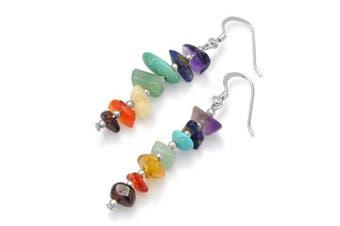 925 Sterling Silver Seven (7) Chakra Gemstones Long Dangle Hook Earrings