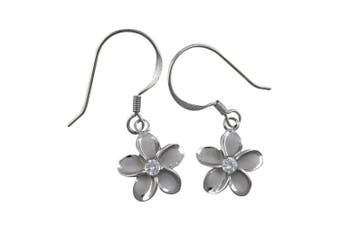 Rhodium Plated Sterling Silver 11mm Plumeria Dangle Earrings