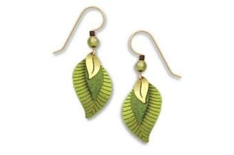 Adajio by Sienna Sky 3-Part Green and Brass Leaves Earrings 7020