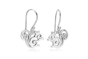 925 Sterling Silver Little Squirrel Dangle Hook Earrings