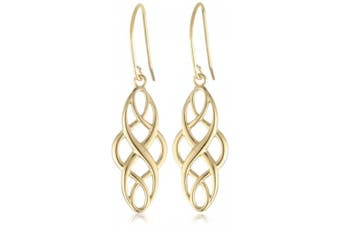(yellow-gold-plated-silver) - 18k Yellow Gold Plated Sterling Silver Celtic Design Oval Dangle Earrings
