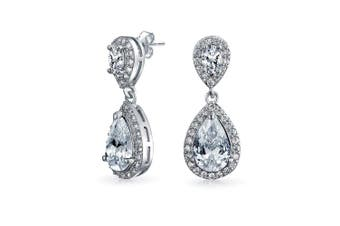 (Clear) - Fashion Pave CZ Halo Pear Shaped Teardrop Drop Statement Earrings For Women Prom Pageant Silver Plated Brass More Colours