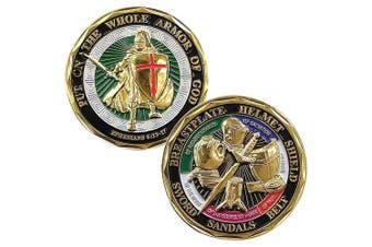 Colourized Armour of God Coin Ephesians Military