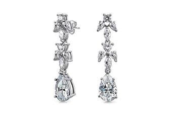 Bridal Cubic Zirconia Leaf Marquise CZ Teardrop Chandelier Prom Pageant Statement Earrings For Women Silver Plated Brass