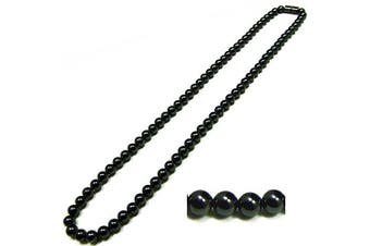 Men's Magnetic Hematite with Round Beads Necklace, 50.8cm