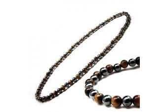 3x Power Men's Magnetic Hematite Tiger's Eye Necklace, 50.8cm