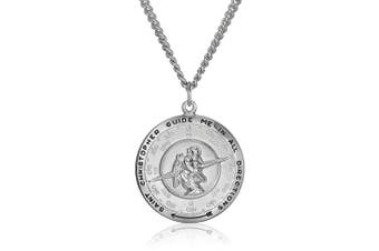 Men's Sterling Silver Saint Christopher Pendant Necklace with Stainless Steel Chain, 24""