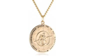 Men's 14k Gold-Filled Round Saint Christopher Compass Medal with Stainless Steel Chain, 60cm