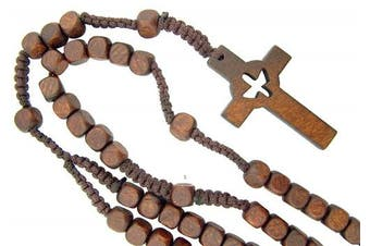 Catholic Confirmation Cut Out Holy Spirit Dove CrossWood Bead Cord Rosary, 46cm