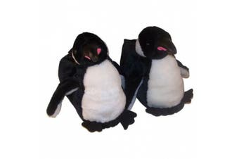 (Youth Large (2 - 3.5), Black) - Comfy Feet Penguin Animal Feet Youth Slippers