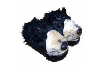(Youth Large (2 - 3.5), Black) - Comfy Feet Black Bear Animal Feet Youth Slippers