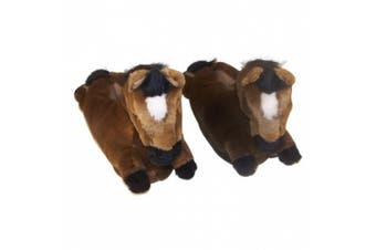 (Youth Large (2 - 3.5), Brown) - Comfy Feet Horse Animal Feet Youth Slippers