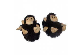 (2 M US Little Kid, Black) - Comfy Feet Monkey Animal Feet Youth Slippers