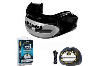 (Black) - Pro Plus Double Laminated Adult Mouthguard Strap/Strapless Combo in 1, Black/Grey