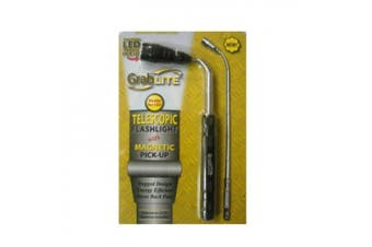 (1 Pack, Black) - PF Waterworks GrabLITE - Telescopic Flashlight with Magnetic Pick-Up (Single Pack)