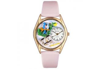 Whimsical Watches Women's Bird Watching Yellow Leather and Gold Tone Watch