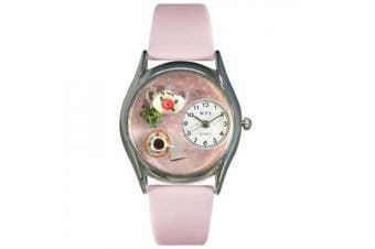 Whimsical Watches Women''s Tea Roses Pink Leather and Silvertone Watch in Silver