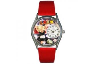 Whimsical Watches Women''s Waitress Red Leather and Silvertone Watch in Silver