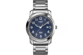(Silver-Tone/Blue) - Timex Men's Elevated Classics Blue Dial Watch, Stainless Steel Expansion Band