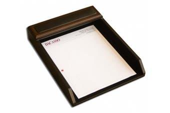 Dacasso Walnut & Leather Letter Tray, Wood, Walnut and Black Leather, 34.59 x 26.97 x 6.35 cm