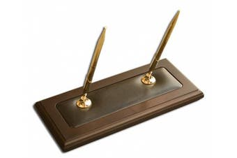 (Walnut) - Dacasso A8404 Wood & Leather Double Pen Stand