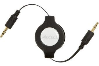 Accell 3.5mm Straight to 3.5mm Straight Retractable Audio Cable, 4'