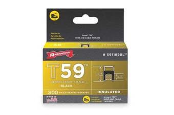 (1, classic) - Arrow Fastener 591189bl Black T59 Insulated Staples For RG59 Quad and RG6, 0.8cm x 0.8cm , 300pk