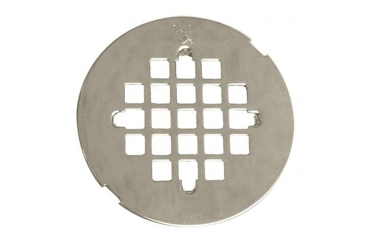 (Polished Nickel) - WestBrass D319 Polished Nickel Casper Style 11cm . OD Snap-In Shower Strainer Grid