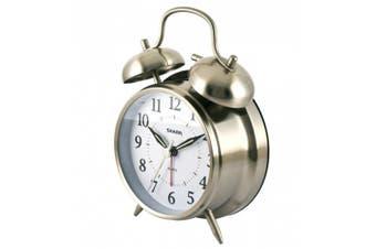 (brushedmetal) - Sharp Twinbell Quartz Analogue Alarm Clock, Brushed Metal