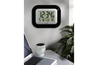 (Black) - La Crosse Technology Atomic Digital Wall Clock with Temperature Display, Black