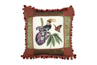 123 Creations Great Hornhill 100pct Wool Petit - Point Pillow with Fabric Trimmed