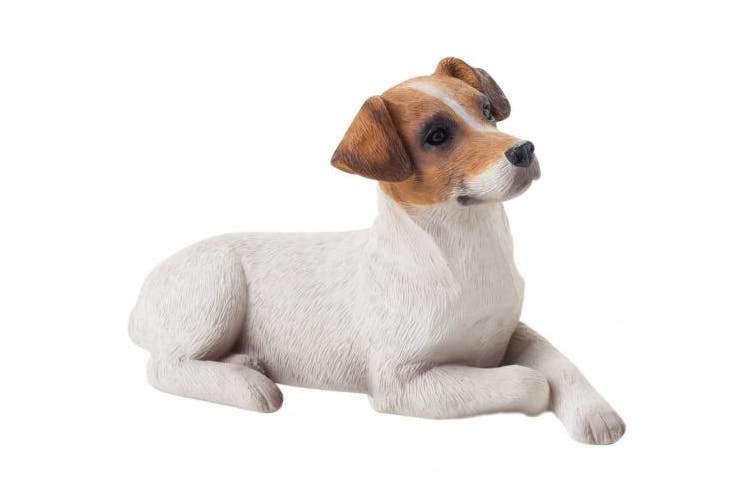(Small Size, Jack Russell Terrier) - Sandicast Small Size Jack Russell Terrier Sculpture in Brown / White