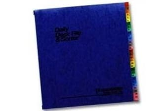 (Blue) - Expandable Desk File, 1-31 Index, Letter Size, Acrylic-Coated PressGuard, Blue