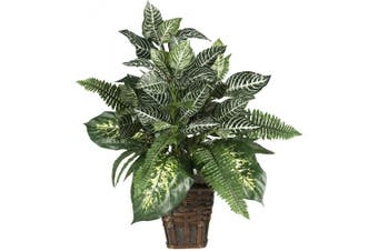 Nearly Natural 6528 Mixed Greens Zebra with Wicker Silk Plant