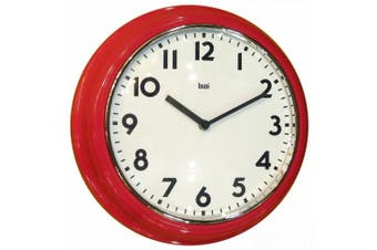 Bai Retro Modern 30cm Round Wall Clock, Red