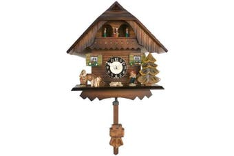 River City Clocks Quartz Cuckoo Clock - Painted Chalet with Dancers - Wesminster Chime or Cuckoo Sound - 18cm Tall - Model # 83-07QPT