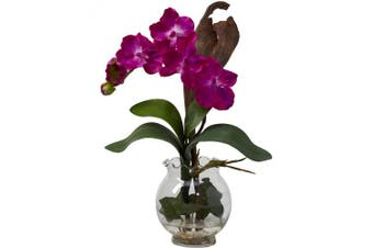 (Beauty) - Nearly Natural 1276-BU Mini Vanda with Fluted Vase Silk Flower Arrangement, Beauty