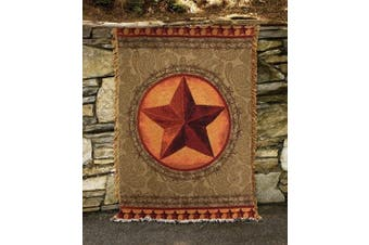 Wild West Rustic Cowboy Star and Paisley Tapestry Throw Blanket 130cm x 150cm