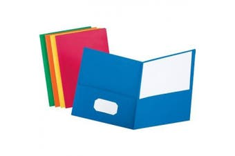 (Assorted Colors, Letter Size) - Twin-Pocket Folder, Embossed Leather Grain Paper, Assorted Colors