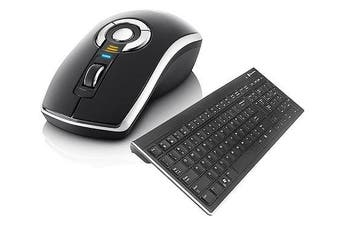 (Black) - Gyration Rechargeable Wireless Air Mouse Elite and Wireless Slim Low Profile Keyboard GYM5600LKNA Bundle