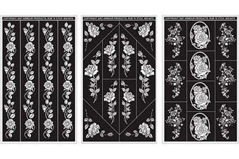 (Rose Designs) - Rub 'N' Etch Designer Stencils 13cm x 20cm 3/Pkg
