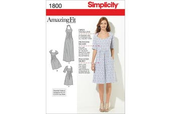 Simplicity Pattern Misses' Plus Size Amazing Fit Dresses, (20W-28W)